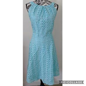Dress Barn Aqua Lace Overlay Zip Up Dress 16